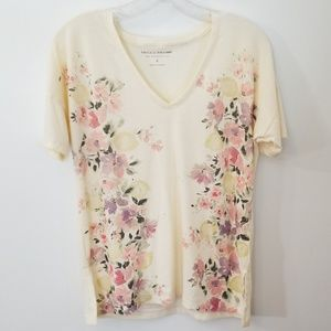 Lucky Brand Floral V Neck Tee Shirt Size S
